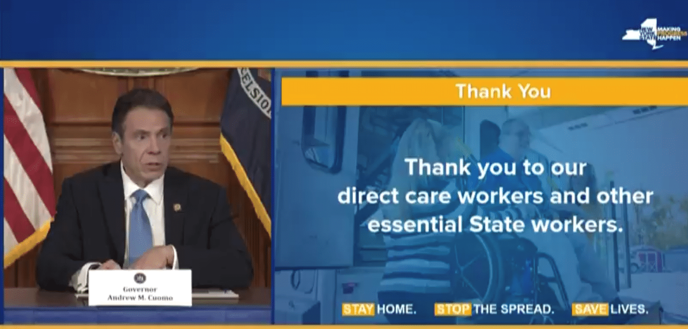 NY Gov. Cuomo giving thanks to Direct Service Workers