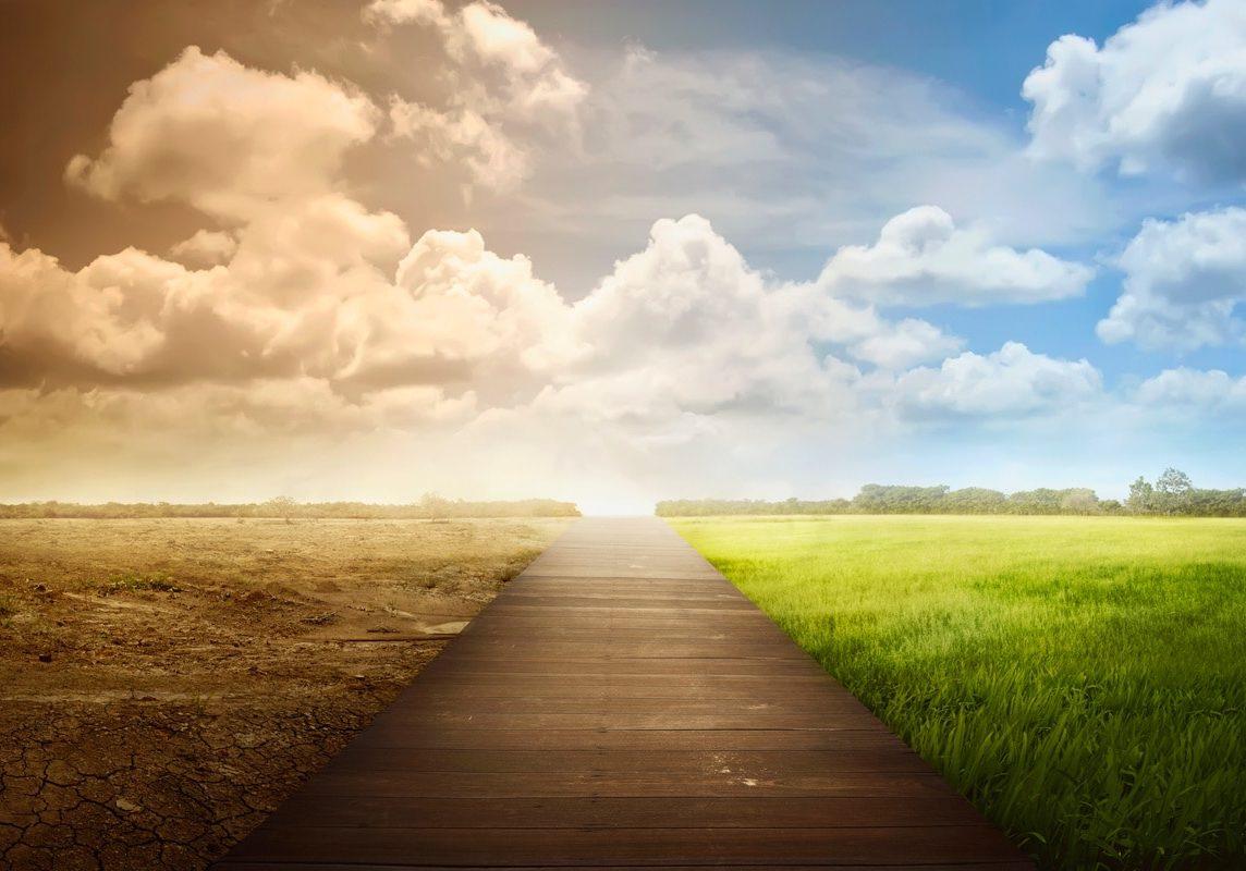Overcase sky transforms into sunny day